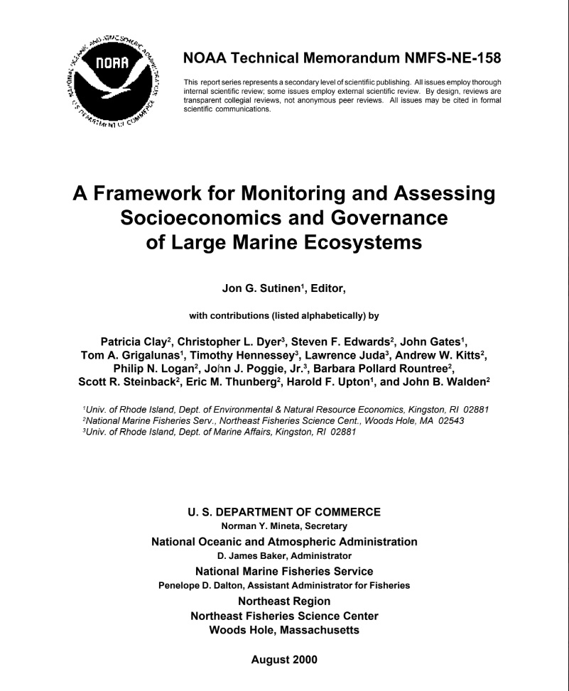 A framework for monitoring and assessing socioeconomics and