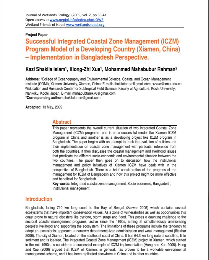 Project Paper : Successful Integrated Coastal Zone